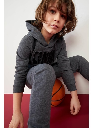 DeFacto Erkek Çocuk NBA Lisanslı Kapüşonlu Sweatshirt Gri